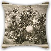 16 X 16 Inches / 40 By 40 Cm Oil Painting G??rard Edelinck - The Battle Of Four Horsemen (Battle Of Anghiari) Pillowcover ,2 Sides Ornament And Gift To Seat,divan,saloon,kids Girls,wedding,birthday