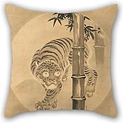 16 X 16 Inches / 40 By 40 Cm Oil Painting Kano Tsunenobu - Tiger Emerging From Bamboo Throw Cushion Covers ,2 Sides Ornament And Gift To Indoor,christmas,dance Room,monther,son,divan