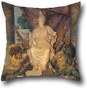 16 X 16 Inches / 40 By 40 Cm Oil Painting San Michele Manufacture - Tapestry With The Goddess Roma Throw Pillow Case ,twice Sides Ornament And Gift To Kitchen,divan,kids Room,lover,lounge,bar Seat