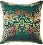 Avarada India Style Elephant Peacock Throw Pillow Cover Decorative Sofa Couch Cushion Cover Zippered 16x16 Inch (40x40 cm) Green by Avarada