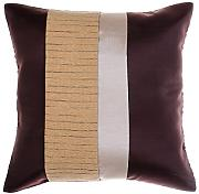 Avarada Striped Crepe Throw Pillow Cover Decorative Sofa Couch Cushion Cover Zippered 16x16 Inch (40x40 cm) Brown Gold line by Avarada