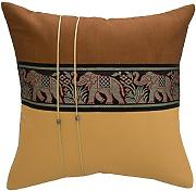 Avarada Striped Elephant Throw Pillow Cover Decorative Sofa Couch Cushion Cover Zippered 18x18 Inch (45x45 cm) Brown Beige by Avarada