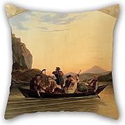 Bestseason 20 X 20 Inches / 50 By 50 Cm Oil Painting Ludwig Richter - Crossing At Schreckenstein Cushion Covers ,each Side Ornament And Gift To Bar Seat,boys,divan,couples,deck Chair,wedding