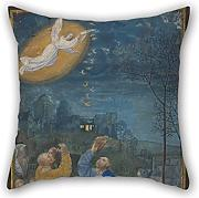 Bestseason Oil Painting Master Of The Houghton Miniatures - The Annunciation To The Shepherds Pillow Covers ,best For Son,chair,divan,relatives,gril Friend,outdoor 18 X 18 Inches / 45 By 45 Cm(both