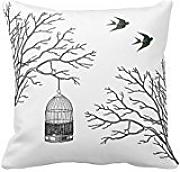 Birdcage Branches Swallows Throw Pillow Case Cushion Cover Home Sofa Decorative Squares (Twin Sides)