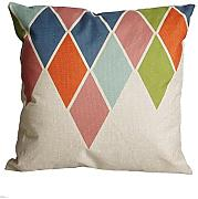 Coolsummer El modelo geométrico de algodón Plaza de lino de la manera decorativa Throw Pillow Case-44cmX44cm (B)