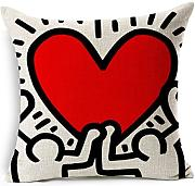 Produktbild: Copricuscini y almohadas Hidoon® Modern Keith Haring Creative Abstract animal La pintura rojo HeArte sofá simple Casa mobiliario Design Cojines decorativos y accessoris Copricuscinis Cojín