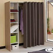 Dressing extensible chica 2 columnas roble y cortina taupe