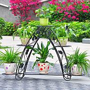 Estante de flor de hierro, 4 Tiered Plant Display Stand Soporte de Bonsái Jardín Hogar Patio Decor Shelf Holds ( Color : Negro )