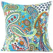 "EYES OF INDIA - 16"" BLUE KANTHA DECORATIVE THROW SOFA CUSHION COUCH PILLOW COVER Indian Bohemian Boho"