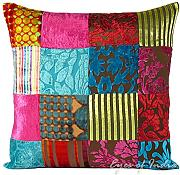 "Produktbild: EYES OF INDIA - 16"" COLORFUL VELVET DECORATIVE SOFA PILLOW CUSHION COVER Indian Bohemian Decor"
