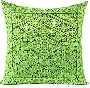 "EYES OF INDIA - 16"" GREEN DECORATIVE EMBROIDERED SOFA CUSHION PILLOW COVER Boho Bohemian Decor"