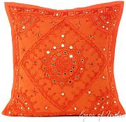 "Produktbild: EYES OF INDIA - 16"" NARANJA BORDADO DECORATIVO dunda cojín sofá Boho Decoración Bohemia"