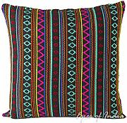 "Produktbild: EYES OF INDIA - 16"" NEGRO DHURRIE cobertor decorativo sofá FUNDA DE COJÍN Decoración Boho Indio"
