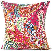 "EYES OF INDIA - 16"" PINK KANTHA DECORATIVE SOFA THROW COUCH PILLOW CUSHION COVER Indian Boho Bohemian"