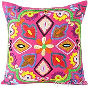"Produktbild: EYES OF INDIA - 16"" ROSA BORDADO DECORATIVO funda cojín sofá Boho Decoración INDIA"