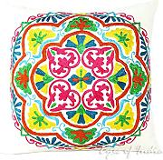 "Produktbild: EYES OF INDIA - 16"" WHITE DECORATIVE EMBROIDERED SOFA CUSHION PILLOW COVER Indian Bohemian Decor"