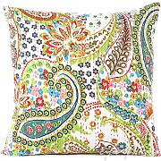 "Produktbild: EYES OF INDIA - 16"" WHITE KANTHA DECORATIVE THROW SOFA PILLOW CUSHION COVER Bohemian Boho Decor"
