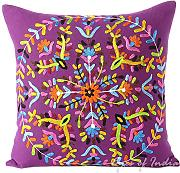 "Produktbild: EYES OF INDIA-16""Purple bordado decorativo Sofá Almohada Cojín india Bohemia"