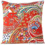 EYES OF INDIA - 16 RED KANTHA DECORATIVE SOFA THROW PILLOW CUSHION COVER Bohemian Indian Decor by Eyes of India