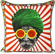 "EYES OF INDIA - 18"" COLORFUL TURBAN DECORATIVE SOFA PILLOW CUSHION COVER Indian Bohemian Decor"