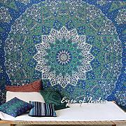 EYES OF INDIA - GREEN STAR INDIAN HIPPIE MANDALA PSYCHEDELIC TAPESTRY BEDSPREAD Bohemian Decor