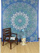 Produktbild: EYES OF INDIA - GREEN STAR INDIAN HIPPIE MANDALA PSYCHEDELIC TAPESTRY BEDSPREAD Bohemian Decor