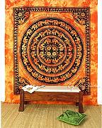 Produktbild: EYES OF INDIA - QUEEN ORANGE HIPPIE INDIAN MANDALA ELEPHANT TAPESTRY BEDSPREAD Beach Blanket Dor