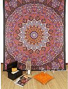 Produktbild: EYES OF INDIA - QUEEN ORANGE HIPPIE INDIAN MANDALA TAPESTRY BEDSPREAD Beach Dorm Decor
