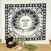 Produktbild: EYES OF INDIA - QUEEN WHITE HIPPIE INDIAN MANDALA SUN MOON TAPESTRY BEDSPREAD Beach Blanket Dorm