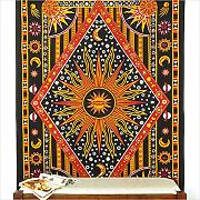 EYES OF INDIA - TWIN BLACK INDIAN HIPPIE MANDALA SUN MOON TAPESTRY HANGING Picnic Bohemian Decor