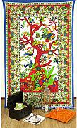 Produktbild: EYES OF INDIA - TWIN WHITE HIPPIE INDIAN MANDALA TREE of LIFE TAPESTRY BEDSPREAD Beach Blanket D