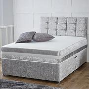Hf4you 1,000 Pocket Memory Crushed Velvet Divan Bed - 4FT Small Double - 2 Drawers Same Side - 24 Cube Headboard - Silver by Hf4you