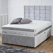 Hf4you 1,000 Pocket Memory Crushed Velvet Divan Bed - 4FT6 Double - 2 Drawers Same Side - 30 Cubed Headboard - Silver by Hf4you