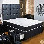 Hf4You 3Ft6 Large Single Black Memory Soft Divan Bed - 2 Drawers - Same Side - Small 20 Faux Leather H/B by Hf4you