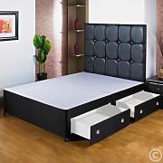 Hf4You 4Ft 6 Double Black Divan Bed Base - 2 Drawers - Small Black Faux Leather H/B by Hf4you
