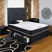 Hf4you Black Chester Ortho Divan Bed - 4ft 6 Double - 2 Drawers Same Side - 20 Black Faux Leather Headboard by Hf4you