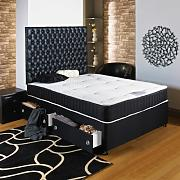 Hf4you Black Chester Ortho Divan Bed - 4ft6 Double - End Drawer - No Headboard by Hf4you