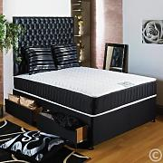 Hf4You Black Quilted Ortho Memory Foam Divan Bed - 4Ft Small Double - 2 Drawers - Foot End by Hf4you