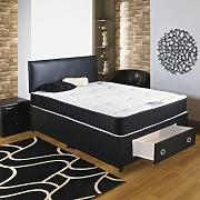 Hf4you Chester 22cm Deep Tufted Divan Bed - 4ft6 Double - End Drawer - 20 Black Faux Leather Headboard by Hf4you