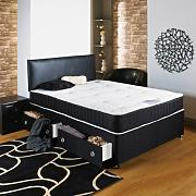Hf4you Chester Divan Bed - 4ft 6 Double - No Storage - 20 Black Faux Leather Headboard by Hf4you