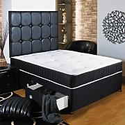 Hf4you New Ortho Black Deep Quilted Divan Bed - 2ft6 Small Single - 2 Drawers Same Side - No Headboard by Hf4you