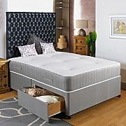 Hf4you Visco Memory Foam Divan Bed Set - 3FT6 Large Single - 2 Drawers Same Side - 20 Rectangular Faux Leather Headboard by Hf4you