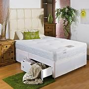 Hf4you White Memory Soft Divan Bed - 4ft 6 Double - 2 Drawers Same Side - No Headboard by Hf4you