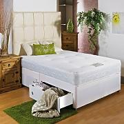 Hf4you White Memory Soft Divan Bed - 4ft Small Double - 2 Drawers Same Side - No Headboard by Hf4you