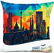 Produktbild: Homar Throw Pillow Covers - Print Pattern Decorative Pillow Case Cover - Washable Square Pillowcases Standard Size 18 x 18 for Couch Sofa Chairs Office Home Decor (Barcelona Famous Buildings Style 2)