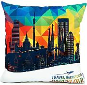 Homar Throw Pillow Covers - Print Pattern Decorative Pillow Case Cover - Washable Square Pillowcases Standard Size 18 x 18 for Couch Sofa Chairs Office Home Decor (Barcelona Famous Buildings Style 2)