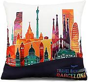 Homar Throw Pillow Covers - Print Pattern Decorative Pillow Case Cover - Washable Square Pillowcases Standard Size 18 x 18 for Couch Sofa Chairs Office Home Decor (Barcelona Famous Buildings Style 1)