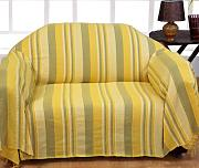 "Homescapes Funda Sofa de 260 x 360 cm color Amarillo en algodón de la coleccion ""Rayas"""