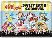 Kelloggs Sweet Eatin Carnival 4 Favourites mini-sign / metal postcard 10 x 14 cm approx